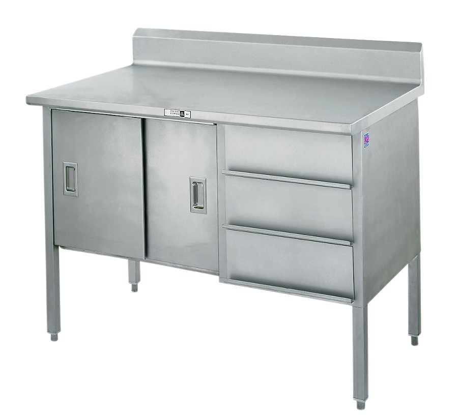 Stainless Steel Enclosed-Base Cabinet w/ Sliders, Riser, Drawers - 14Ga Top