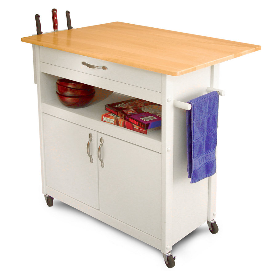 Catskill Drop-Leaf Utility Cart - White Base, Side Knife Rack, 34