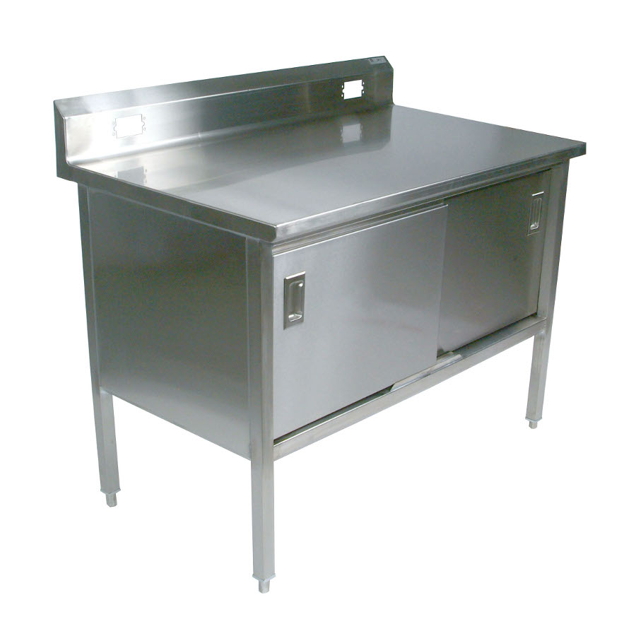 John Boos 180-4 Stainless Steel Enclosed Based Work Table with Riser and Sliding Doors