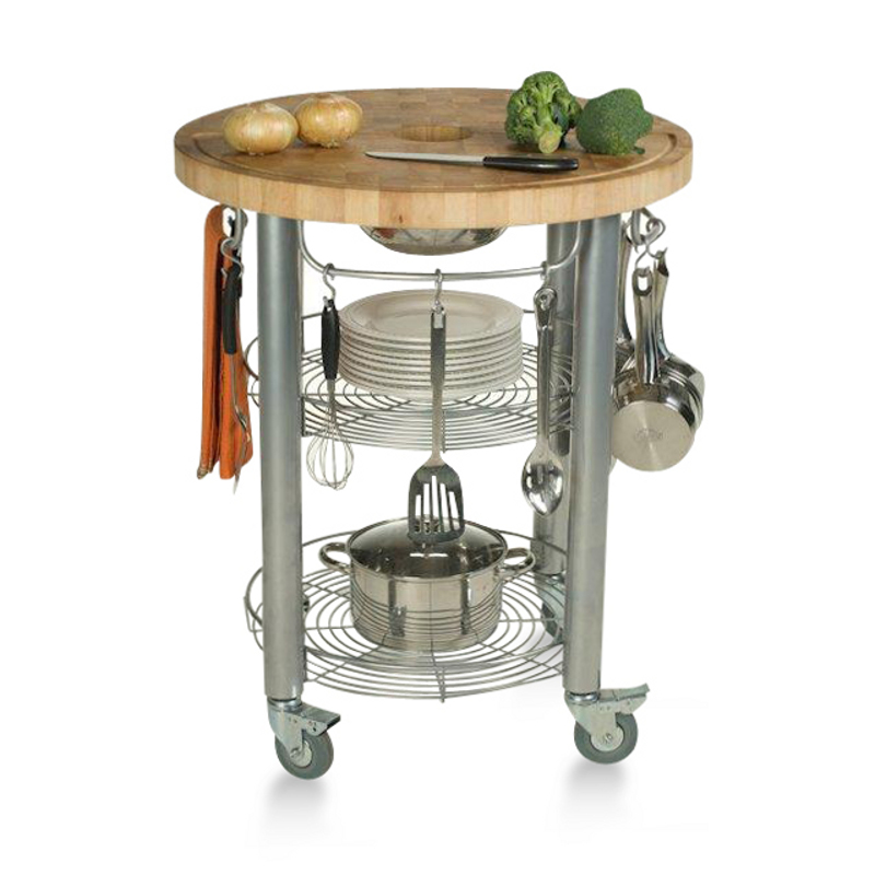 "Chris & Chris 30""-Round Chop 'n Drop Work Station - Grooved End-Grain"