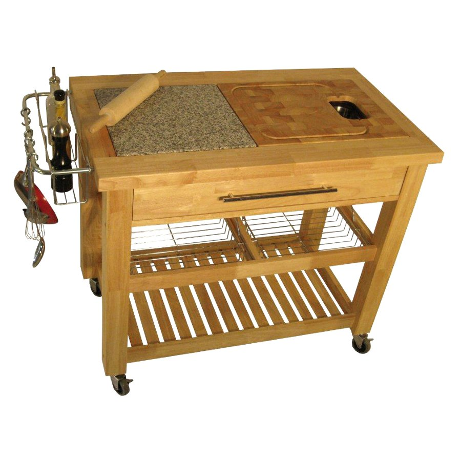 Granite and Rubber Wood Top Food Prep Station