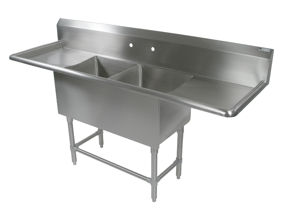 John Boos NSF Pro Bowl Compartment Sink - 2 Bowls, 2 Drainboards