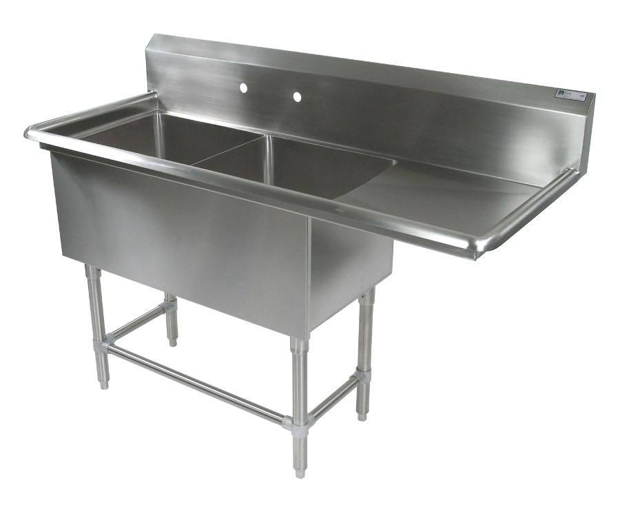 John Boos NSF Pro Bowl Compartment Sink - 2 Bowls, 1 Drainboard