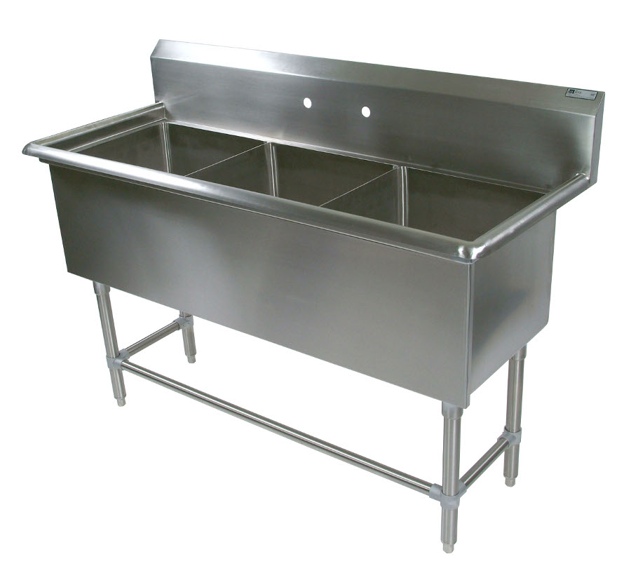 John Boos NSF Pro Bowl Compartment Sink - 3 Bowls, No Drainboard