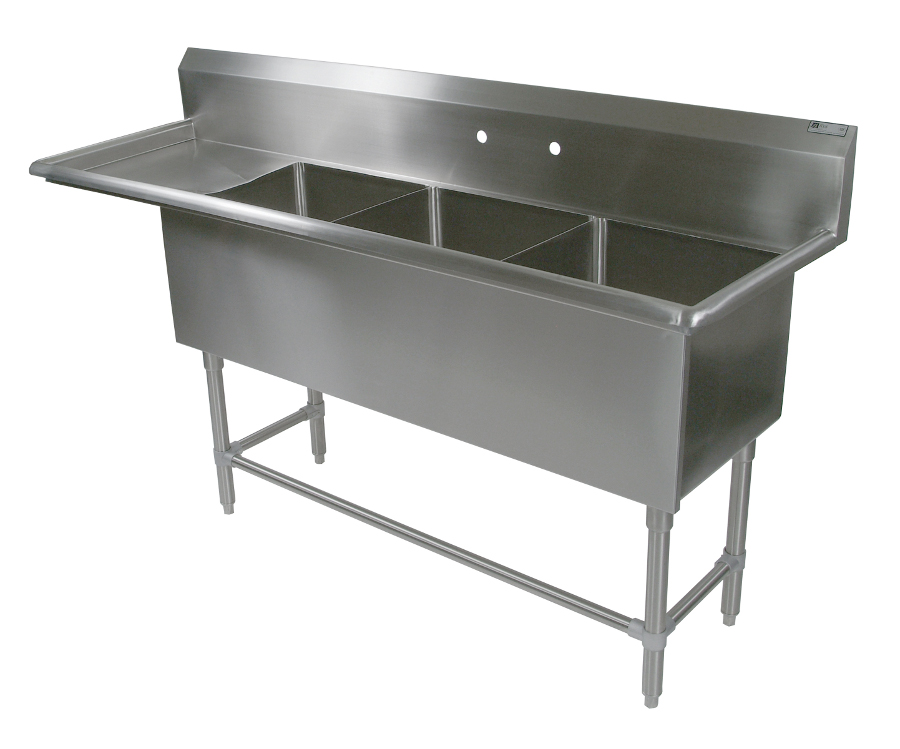 John Boos NSF Pro Bowl Compartment Sink - 3 Bowls, 1 Drainboard