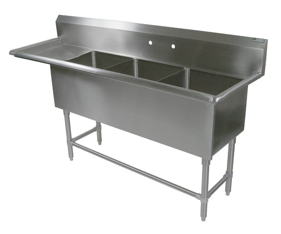 John Boos NSF Pro Bowl Compartment Sink - 3 Bowls, 1 Drainboard