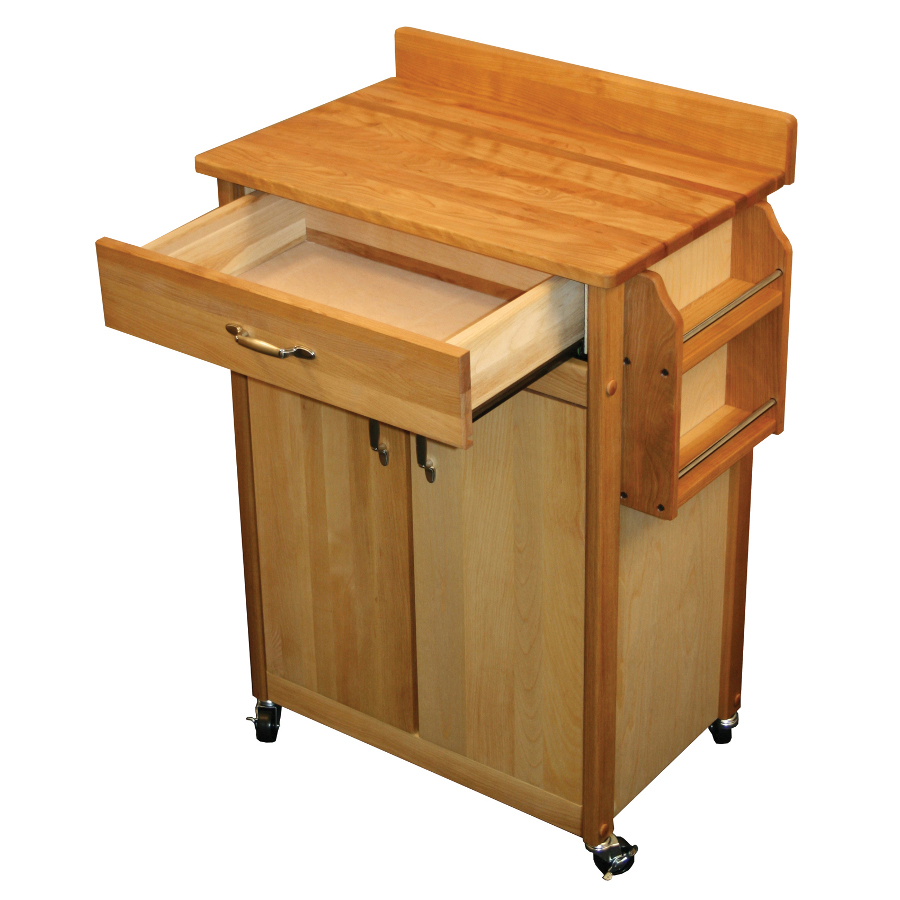 Catskill Backsplash Butcher Block Cart with Spice Rack