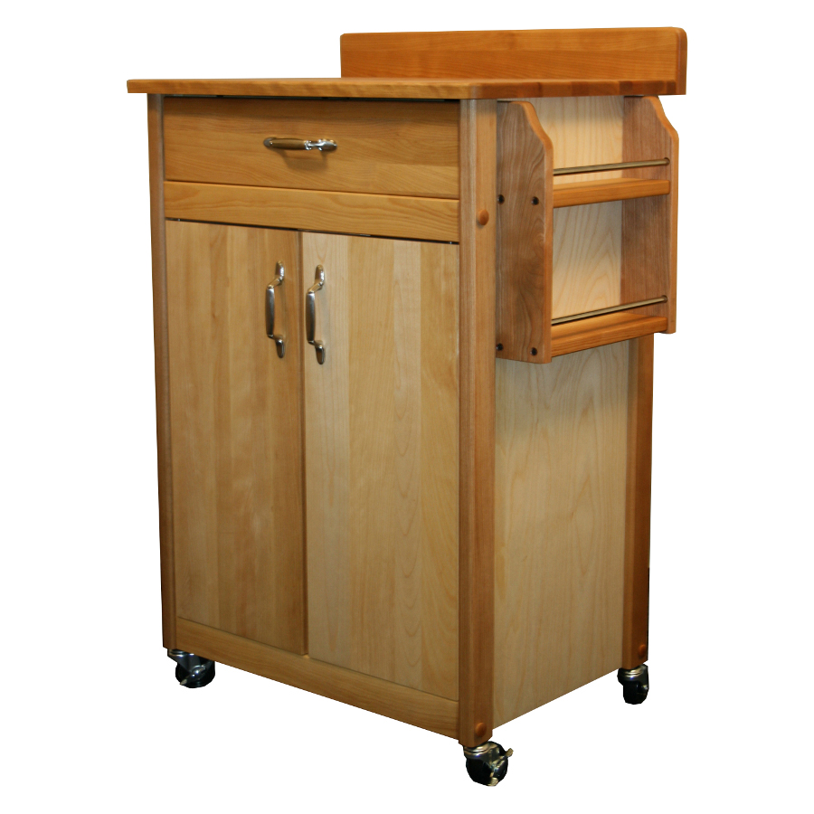 Catskill Butcher Block Cart with Backsplash & Spice Rack