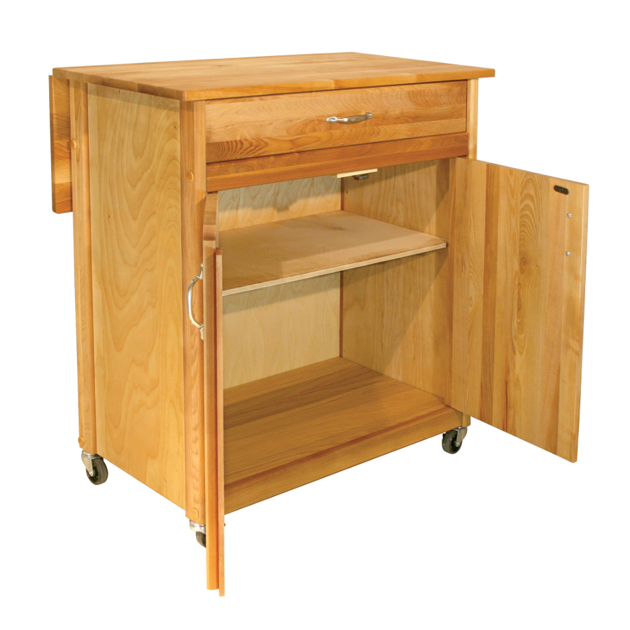 Catskill Mid-Size Butcher Block Kitchen Cart with Drop Leaf