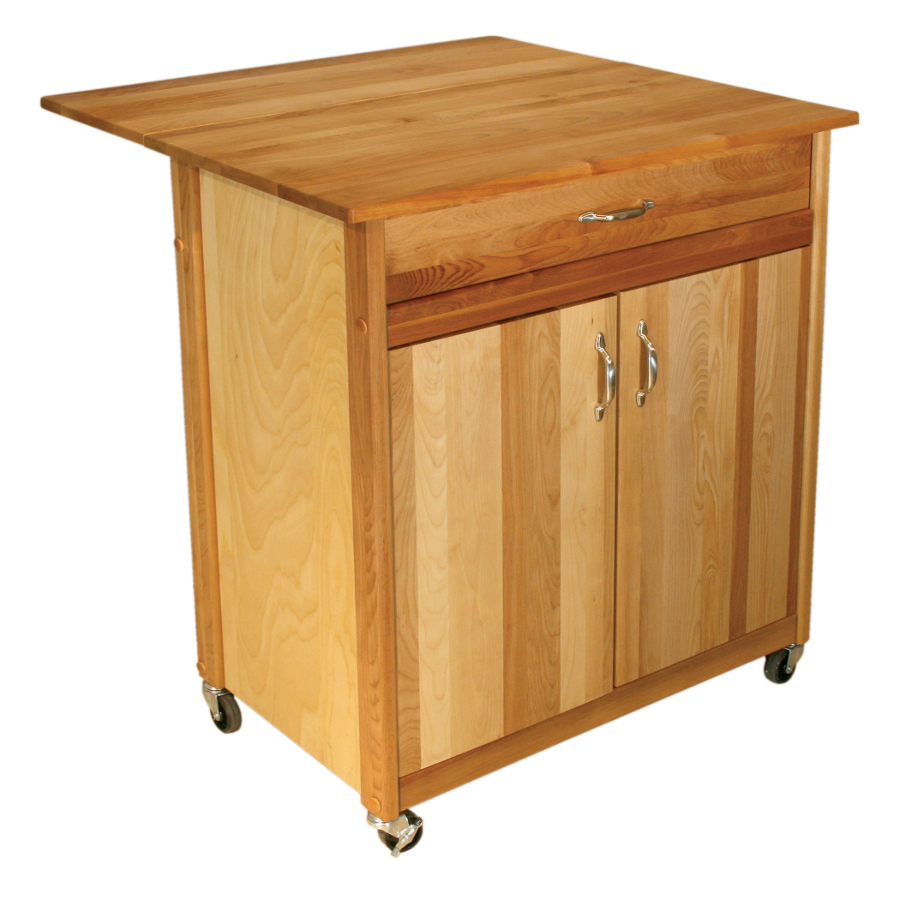Catskill Mid Size Butcher Block Cart   34 X 17, Optional Dop Leaf