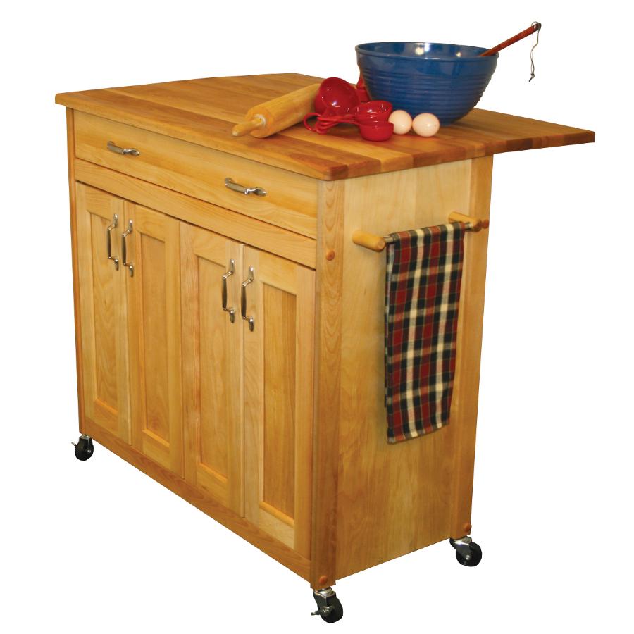 Catskill mid sized kitchen island cart w drop leaf for Kitchen island cart