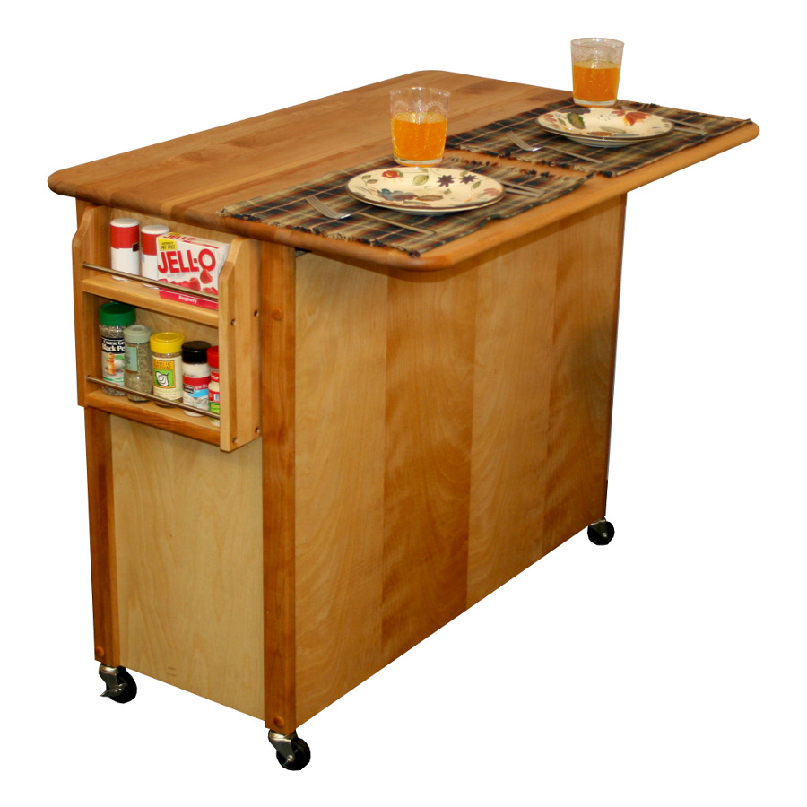 Catskill Butcher Block Island Cart with Cabinet Storage