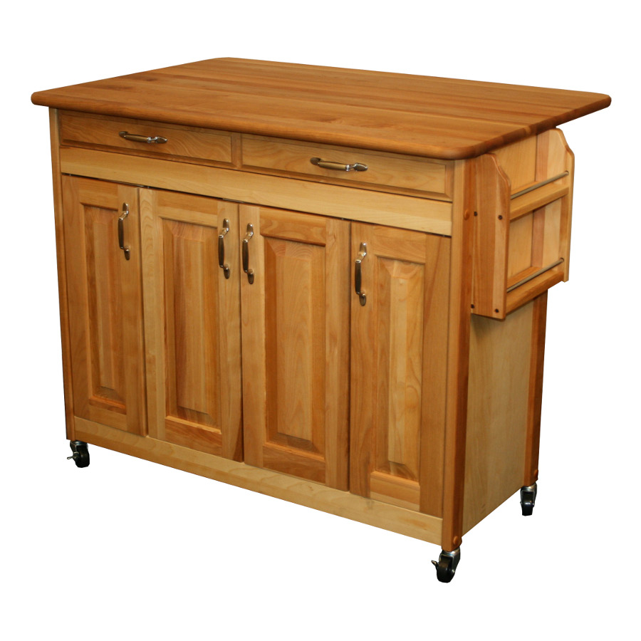 catskill butcher block island with drop leaf 42 x 28 with leaf extended - Kitchen Island On Wheels