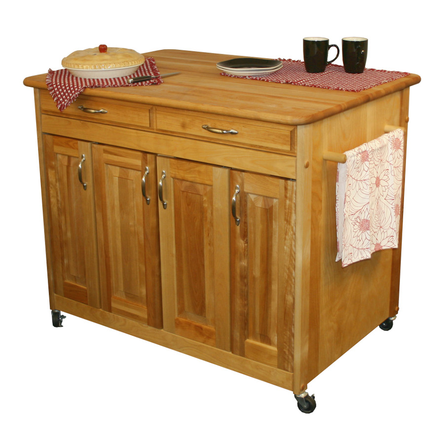 Catskill Butcher Block Island Cart with Raised Panel Doors
