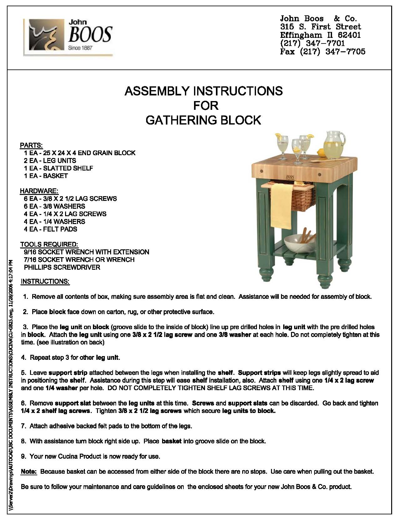 Gathering Block Instructions