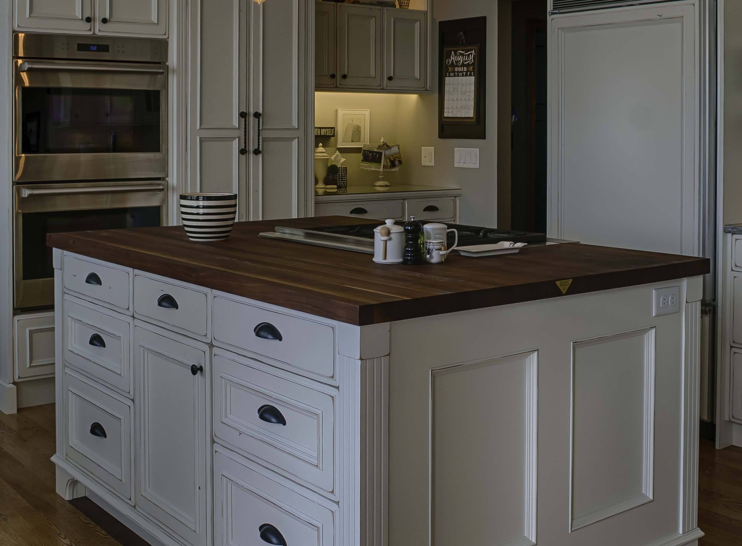 edge-grain walnut kitchen island