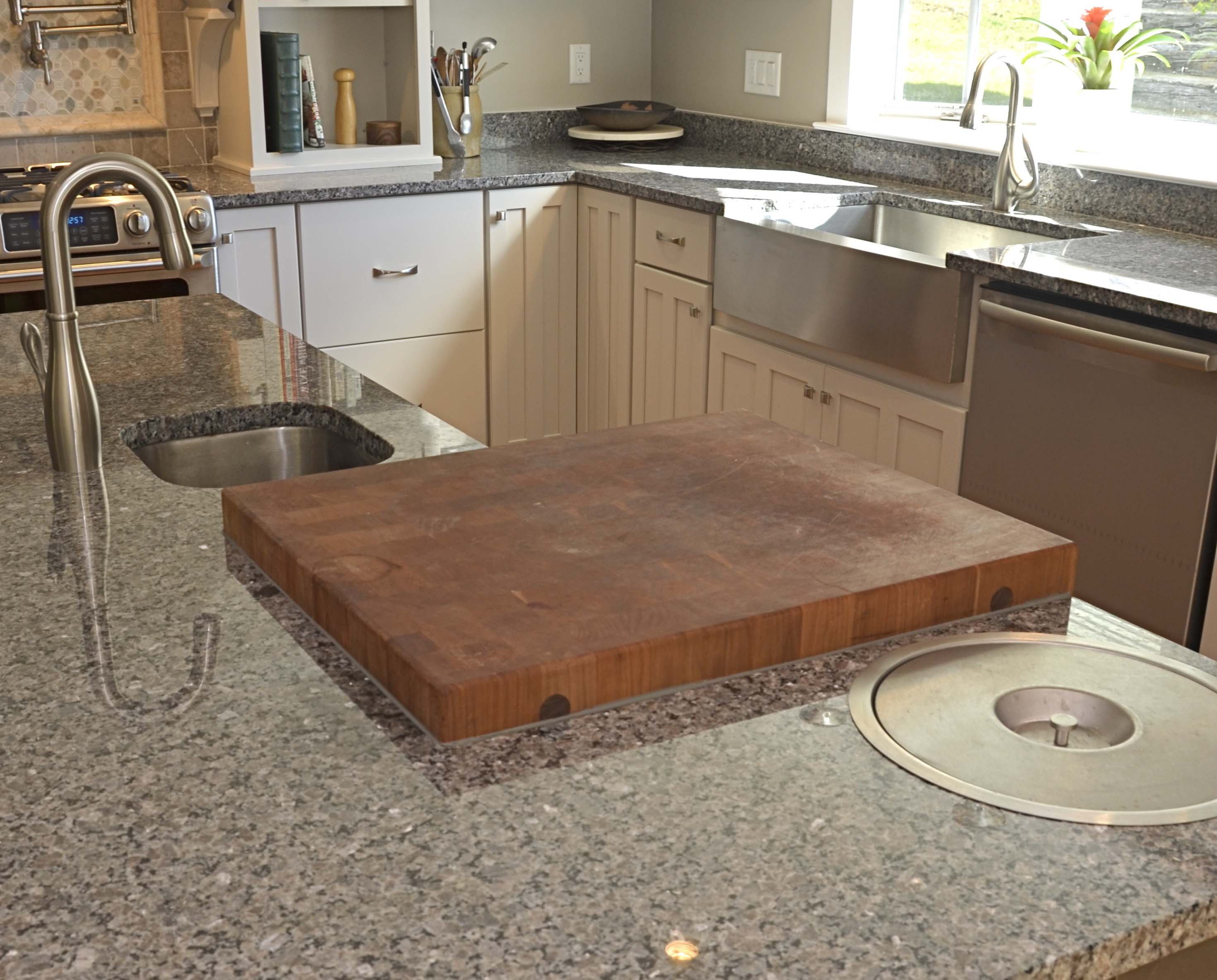 end-grain cherry chopping block on island