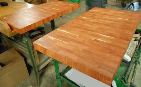 end-grain cherry butcher block kitchen island