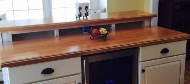 plank style cherry butcher block kitchen island