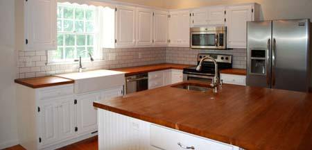 cherry edge-grain butcher block island top