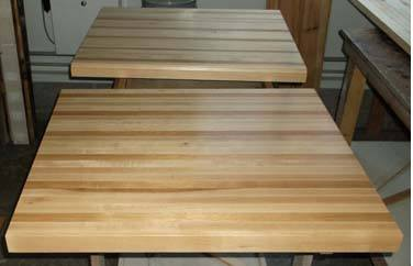 varnish finish on ash butcher block dining table