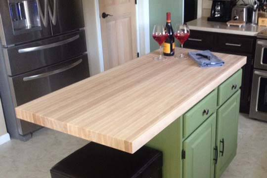 beech butcher block in edge-grain style