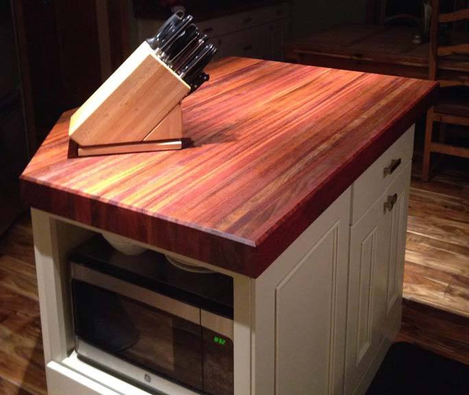 Brazilian Cherry edge-grain butcher block