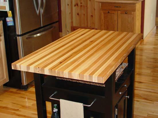 Hickory butcher block edge-grain style