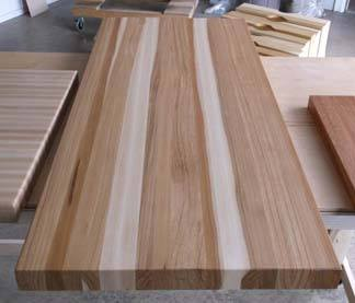 hickory butcher block in edge grain style