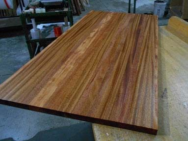 edge-grain mahogany kitchen counters