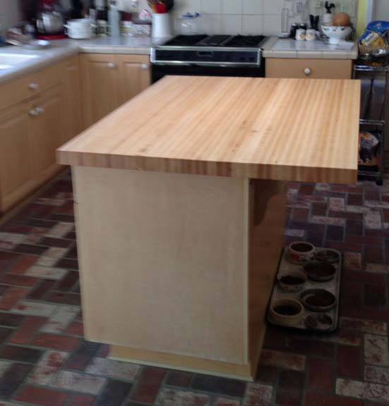 butcher block edge-grain maple kitchen island