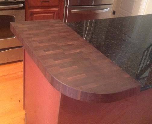 walnut breakfast bar countertop