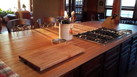 white oak butcher block counters in kitchen