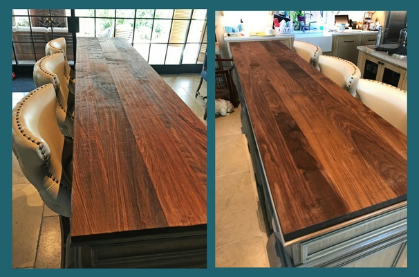 walnut plank style hand scraped countertop