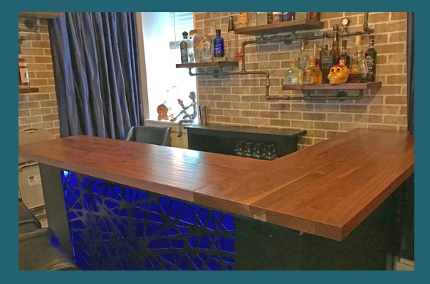 Walnut Plank butcher block bar top