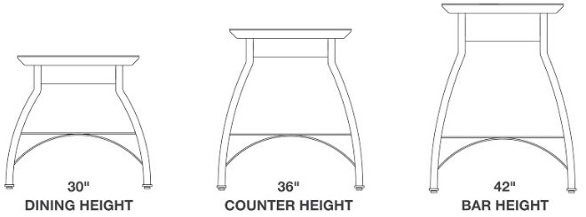 John Boos Foundry Collection Pub Style Dining Table Heights