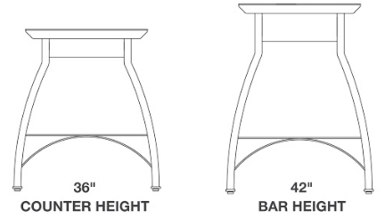 John Boos Foundry Collection Bistro Style Dining Table Heights