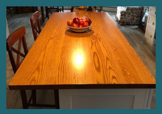 oak plank kitchen island top