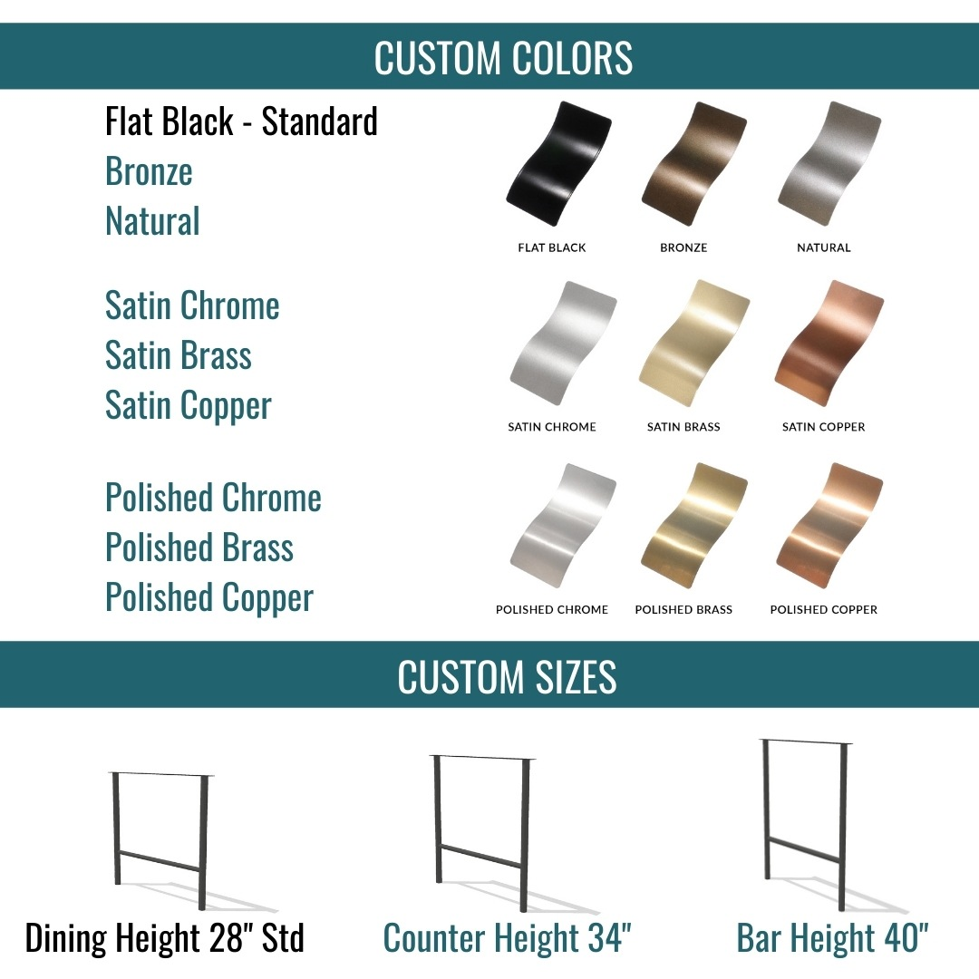 table base color and height options