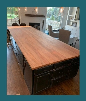 american cherry plank-style island top