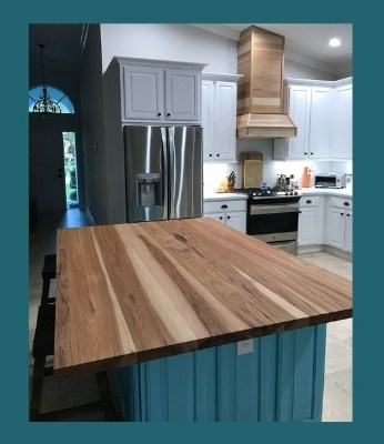 hickory plank-style island top