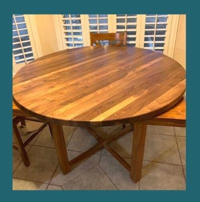 round walnut butcher block table top