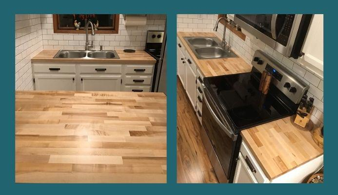 blended maple countertop with sink cutout