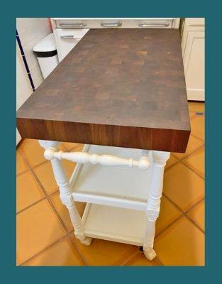 3 inch thick end-grain walnut wood countertop