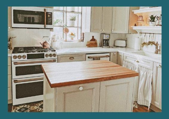 Birch edge grain kitchen island