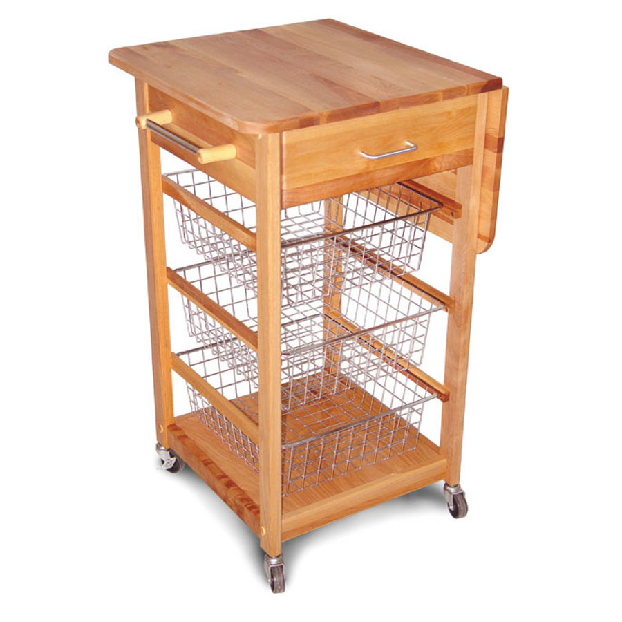 Catskill Drop Leaf Butcher Block Cart with Chrome Storage Baskets