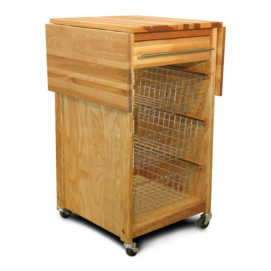 Kitchen Cart with Sliding Baskets and 2 Drop Leaves mpn 7226
