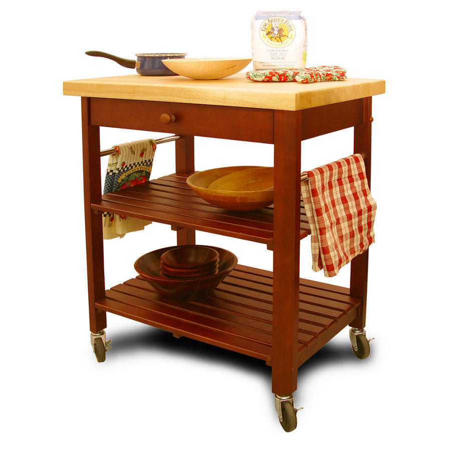 Catskill Roll-About Kitchen Cart with lacquered top, slatted shelves