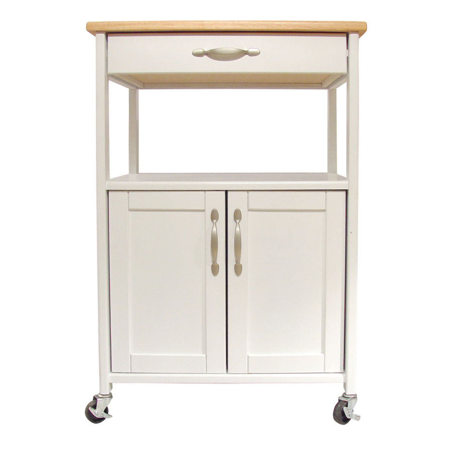 Catskill Kitchen Trolley - White Base, Lacquered Top