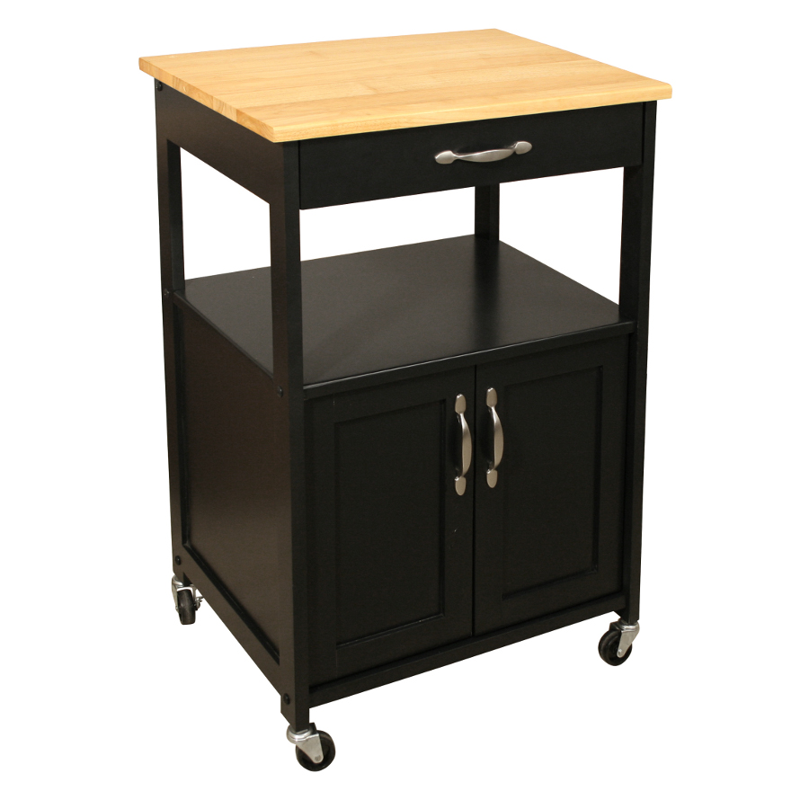 Catskill Black Kitchen Trolley with Hardwood Top